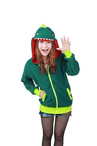 Minetom Unisex Cartoon Jacke Pyjama Tieroutfit Seitentaschen Reißverschluss Mit Kapuze Tier Cosplay Sweatshirt Halloween Kostüm Hoodies Einhorn Dinosaurier Grün (Cartoon Charakter Hoodies)
