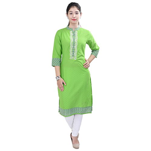 Purvahi Beautiful Green Embroidered Cotton Kurti
