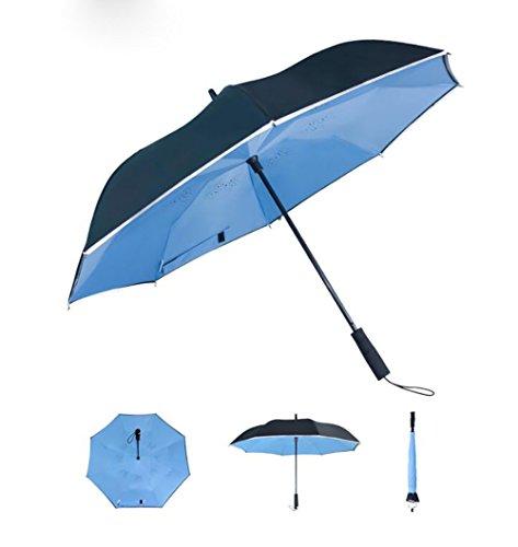 ZJM-umbrella Langer Griff-Regenschirm-sicherer reflektierender Streifen-kreativer Doppelter Tuch-Regenschirm mit Warnzeichen (Farbe : Blue)