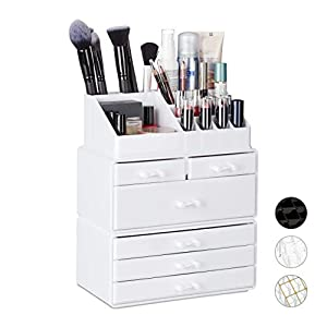 Relaxdays Organiser with 6 Drawers, 22 Compartments for Makeup Storage, Acrylic Cosmetic Tower, White, 29 x 23.5 x 14 cm