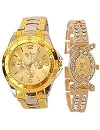 BLUE DIAMOND Analogue Gold Dial Men's And Women's Watch (Couple Watch)