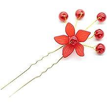 Novia tocado pelo de flores heladas horquilla en forma de U tenedor de pelo hecho a