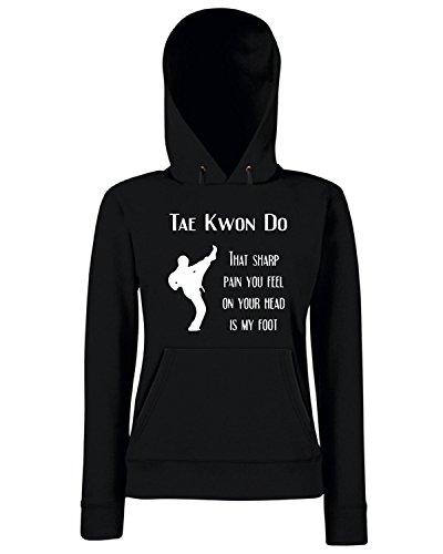 Cotton Island - Felpa Donna Cappuccio TAM0175 taekwondo sharp pain dark tshirt, Taglia S