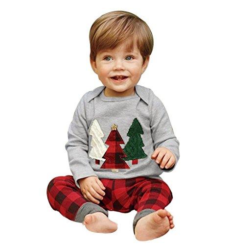 Kinder Baby Jungen Mädchen Geschenk Baum Hoodie Sweatshirt Tops + Hosen mit Rudolph Rot Schottenmuster ❄ZEZKT-Baby Santa KindermodeWeihnachts Baby Costumes 0-24Monate 3-5Jahr (Size:80 12Monate, (Mode 80 Kostüme)