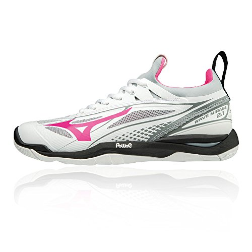 Mizuno Damen Wave Mirage 2.1 Sneakers, Mehrfarbig (White/Black/Pink Glo 001), 42 EU
