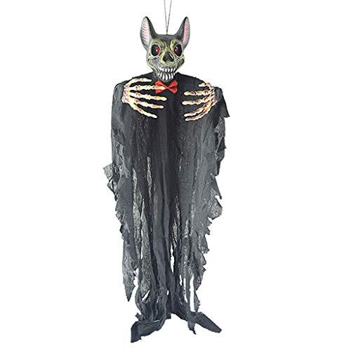 non-brand Sharplace Halloween Vampir Fledermaus Deko Figur Anhänger Hängedeko, Horror Leuchtende Augen und Schreie - (Animierte Halloween)