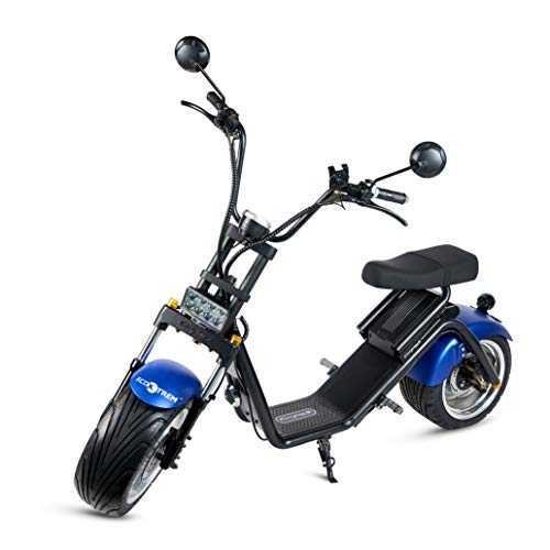 ECOXTREM Moto, Caigiees, City Coco, Scooter eléctrico, Moderno y casual, Color Azul en el guardabarros, Motor de 1200W, Posibilidad de...