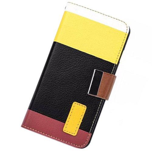 Brillant TM–Étui en imitation cuir avec étui portefeuille à rabat avec support design et coloré Protection, Cuir synthétique, Multi Pink, For iPhone 6 Multicolore/jaune