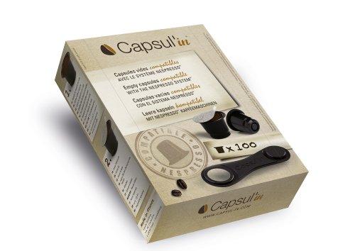 CapsulŽin capsulin Capsulas rellenable para sistema Nespresso, caja de 100