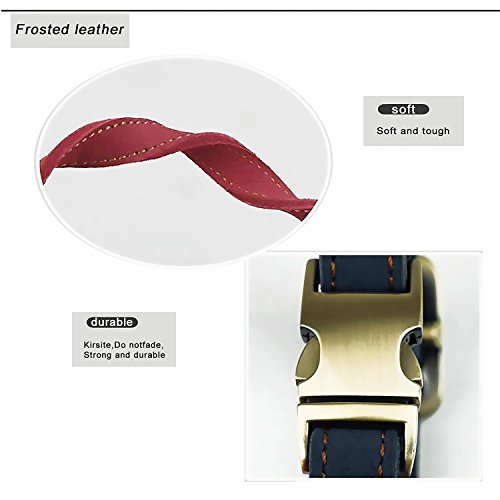 PETBABY-Soft-Leather-Dog-Collar-Padded-Luxury-Genuine-Leather-Puppy-Collar-For-Small-to-Medium-Size-Dogs-Adjustable-Length-From-118-Inch-to-17-Inch-08-Inch-Wide-Wine-Red