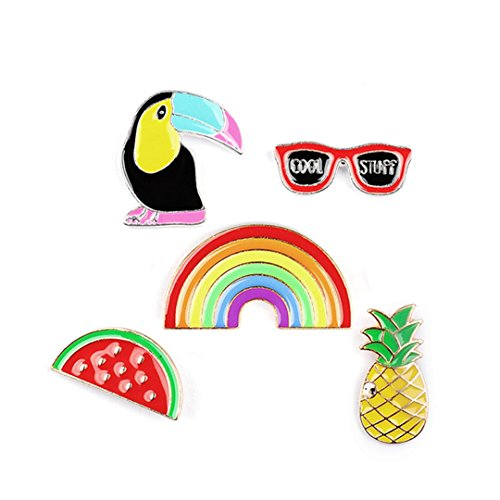 High-grade Brooch Set Women's Crow Sunglasses Rainbow Watermelon Pineapple Brooches Fashion Joker Alloy Corsage Pin Badge