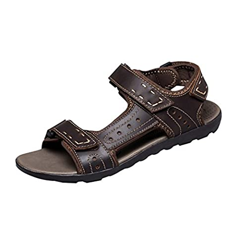 Spades & Clubs Mens Leather Open Toe Summer Velcro Athletic Outdoor Walking Trail Shoes Sandals Size 10.5 UK Brown