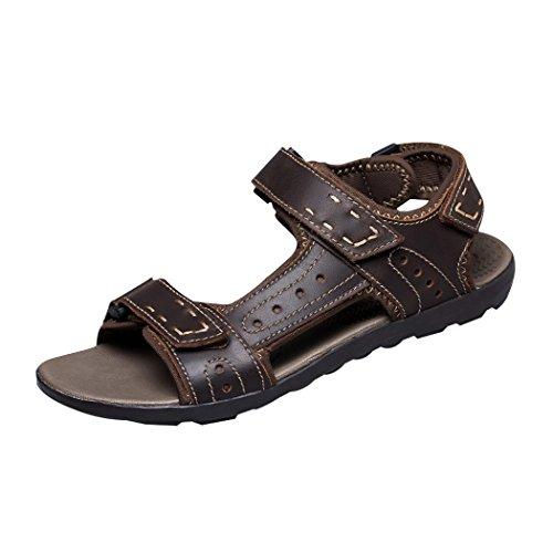 Vanghe & Club aperte sulle dita estivi da uomo, in pelle, con chiusura in Velcro per l'atletica, il Trail running Shoes-Sandali da passeggio, Marrone (marrone), 44.5