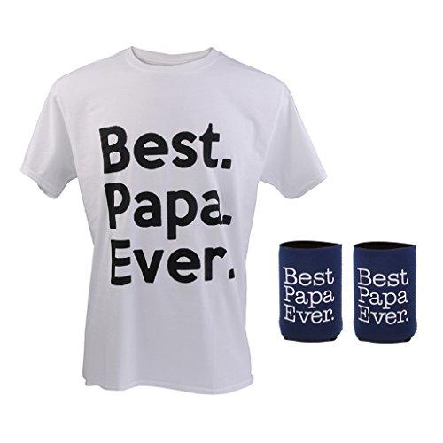 Preisvergleich Produktbild Blesiya Best Papa Ever vatertag geburtstagsgeschenk T-shirt xl + 2 stücke Bierkühler