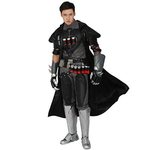 Pandacos Reaper Cosplay Jacke Deluxe Kostüm Herren Costume Schwarz aus Leder Jacket+ Wirbelsäule für Halloween, Karneval und Fasching