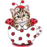 Ruikey Lindo gatito pintura del diamante Pintura de Diamante de 5D, Viene con Taladro Completo