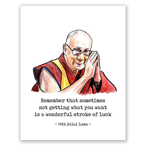 AtoZStudio A82 Dalai Lama Poster // Kunstdruck-Zitat // 14. Dalai Lama Portrait // Buddhismus Geschenke für Männer, Frauen und Kinder // Meditation Wand Kunst Home Decor 8x10