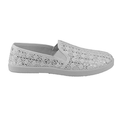20020 Fashion4young Scarpe Da Donna Pantofola Pantofole Da Donna Scarpe Estive Tessile Bianco