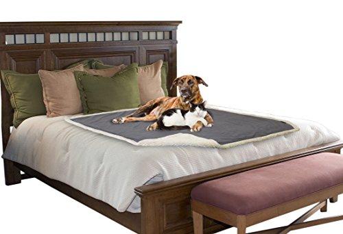 Pawsse Kuscheldecke Hundedecke Wasserdicht für Hund Katze Haustier, Sherpa Wolle Waschbare Hundematte Katzendecke für TeppichSofa Hundebett Auto Wohnbereich Gray/Tuape
