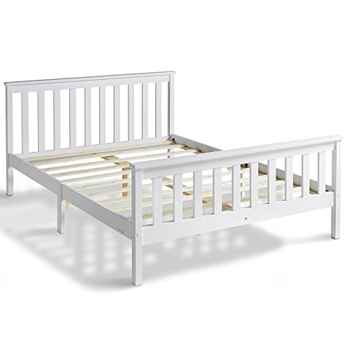 "VonHaus Double Pine Bed - 4ft 6"" White Wooden Pine Bed Frame in Classic Shaker Design With Headboard, Footboard & Slatted Base"