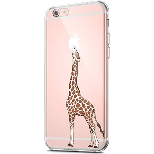 Etsue Kompatibel mit iPhone 6S Plus 5.5 Handyhülle Transparent TPU Silikon Handytasche Durchsichtige Schutzhülle Klar Silikon Bumper TPU Rückschale Case Crystal Clear Cover,Niedlich Giraffe
