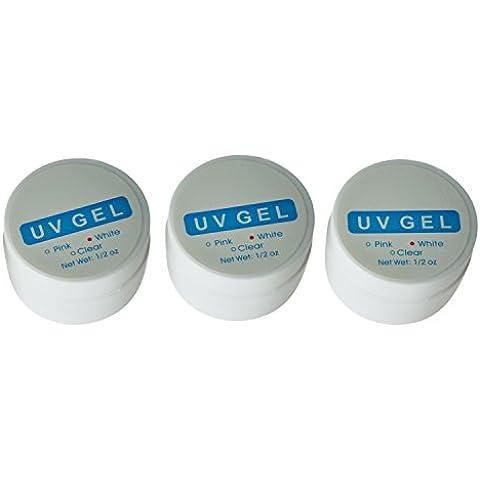 BestOfferBuy Gel Unghie Rinforzante Manicure Per Luce UV 3 Pezzi Rosa + Trasparente + Bianco
