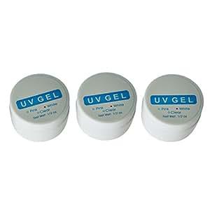 Gel ultraviolet UV pour ongles artistique manicure rose+blanc+transparent 3PCS