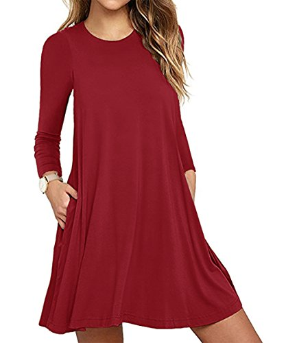 Damen Vintage Langarm Tasche Casual Loose Rock T-Shirt Kleid Red M (Rotes T-shirt Tasche)
