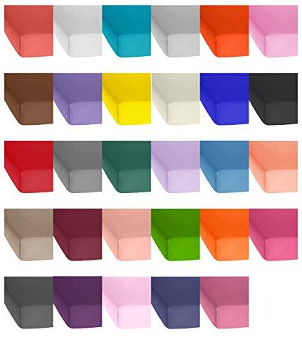 Jersey Baumwolle Spannbetttuch, Spannbettlaken in vielen Farben und allen Größen von 90x200 bis 200-220 auch für Wasserbetten und Boxspring sowie Topper Spannbettlaken - Jersey Topper Spannbettlaken 180x200 bis 200x200 cm - Schokobraun