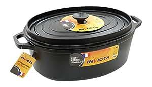 Invicta 30335 Noir Cocotte en Fonte Émaillée 35 cm