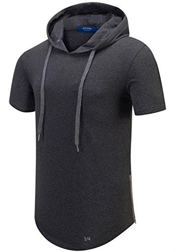 AIYINO Herren Kurzarm/Langarm Hoodie T-Shirt 100% Baumwolle Kapuzenshirt Dunkelgrau