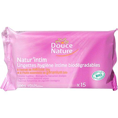 Douce Nature - PRI 4650 - Hygiène Intime Bio - Lingettes Natur'Intim Cosmébio - 15 Pièces