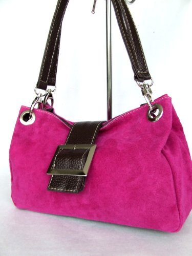 Italienische kleine Damentasche Handtasche Ledertasche Wildleder Dunkeltaupe