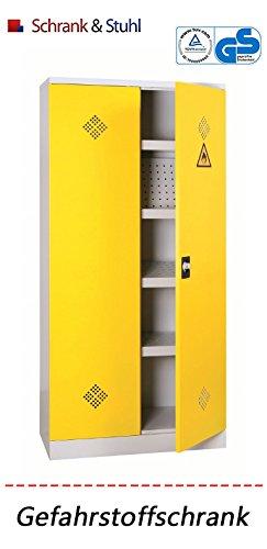 Tüv geprüfter Gefahrstoffschrank | Chemikalienschrank GRAU / GELB - KOMPLETT MONTERT