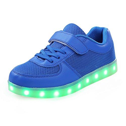 SAGUARO® Jungen Mädchen Turnschuhe USB Lade Flashing Schuhe Kinder LED leuchtende Schuhe mit farbigen Schnürsenkel Blau