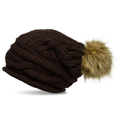 CASPAR MU151 Bonnet Beanie en tricot épais avec torsades et pompon en imitation fourrure marron fonce