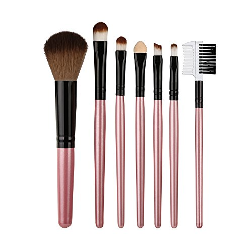Zhen + Make up Pinsel Beauty Pinsel 7pcs Holzgriff Schmink Pinselset Foundation Eyebrow Eyeliner Kosmetik Lidschatten Gesichtspinsel Kabuki Mischen erröten Bürsten (C)