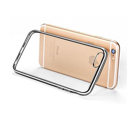Minto iPhone 6 Plus/ 6s Plus Hülle, 0.8mm Ultradünne mit Überzug Farbig Rahmen Silber TPU Schutzhülle Weiche Silikon Transparent Case Cover für iPhone 6 Plus / 6S Plus Grau -i6