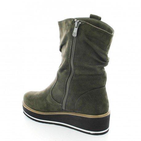 Ideal Shoes - Bottines compensées effet daim Iriana Vert