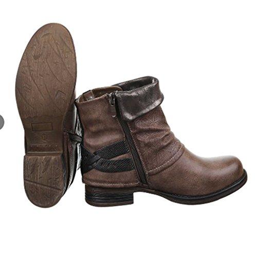 Damen Stiefeletten Biker Boots Nieten Schnallen Lederoptik 95 Braun lZOY09