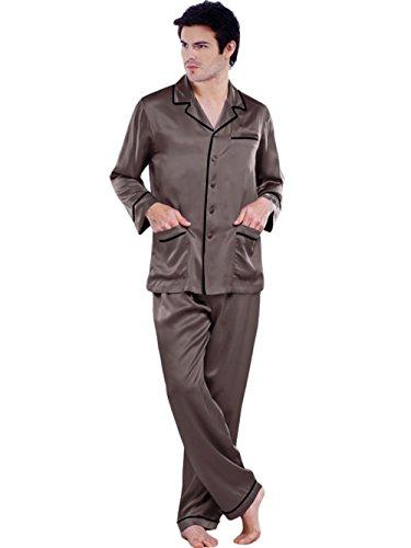ELLESILK Herren Schlafanzug 100% 22 Momme Maulbeerseide, Zweiteilig Pyjama Lange Ärmel Kohlengrau/Schwarz