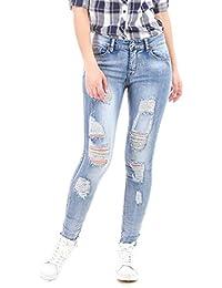 La Modeuse - Jeans destroy, légèrement frangé aux chevilles (effet usé)