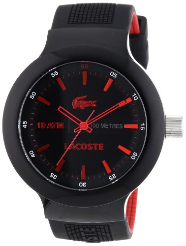 Lacoste Men's Quartz Watch with Black Dial Analogue Display and Black Silicone Strap 2010660