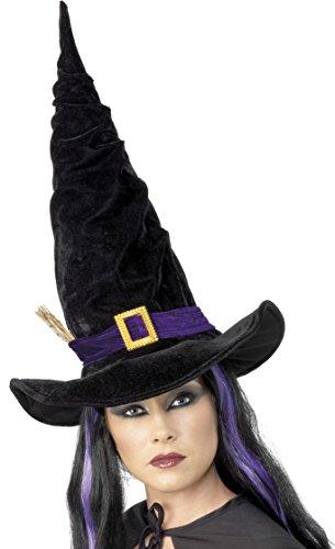 Smiffys, Damen Hexen Hut mit lila Band und Schnalle, One Size, Schwarz, 24152 (Hexe Hut Schwarz Schnalle)