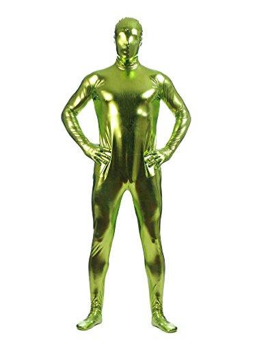 CHENGYANG Zweite Haut Ganzkörperkostüm Für Herren Mit Rücken Reißverschluss Catsuit Zentai Grünes Gras (Anzug Grüne Lycra)