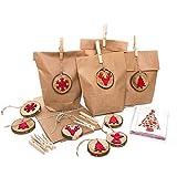 SET: 10 Stück Verpackung Weihnachten Papier-Tüte braun + 10 Weihnachtskarten weihnachtlich Kunden Geschenke verpacken rot braun Holz Geschenkanhänger
