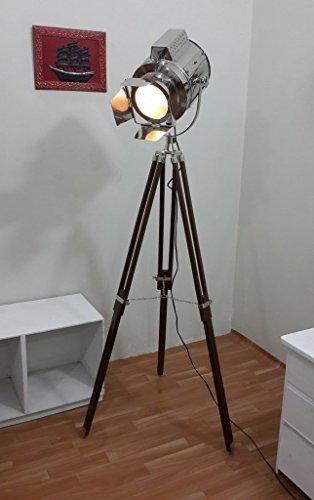 Preisvergleich Produktbild Thor Instruments Co Standleuchte im Vintage-Theaterscheinwerfer-Look, mit Stativ, silberfarben/Braun