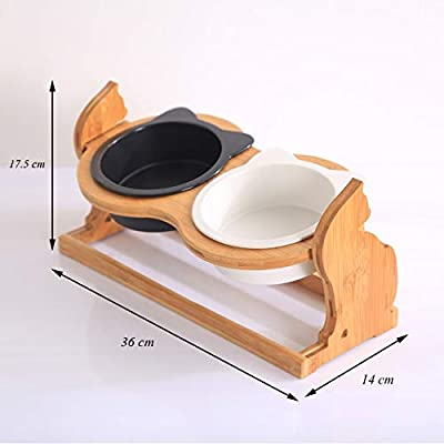 ZRYJWG Elevated adjustable double dog bowls Cat Dog Feeding Bowl Pets Food Water Adjustable Hight Double Bowls Anti-Slip Sloping 16 Degree Feed Tray Design from ZRYJWG