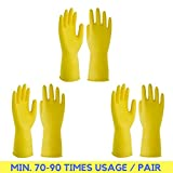 ✮ FREE DELIVERY ✮ 3 Pairs,Rubber Latex, Reusable Hand Gloves for Dish washing, Cleaning , Kitchen work. Size: Large ✮ Minimum Usage: 70-90 Times per Pair ✮ Total 1 Year Cleaning Soluation ✮