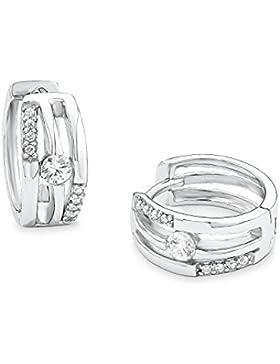 s.Oliver Damen-Creolen Ohrringe 13 mm 925 Sterling Silber Zirkonia weiß